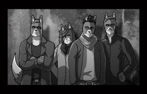 A commission by Dan Butcher of the band Bastille in fox form